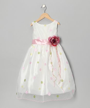 Pink & Green Polka Dot Flower Dress - Toddler & Girls