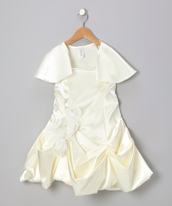 Ivory Pick-Up Dress & Shrug - Girls