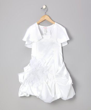White Pick-Up Dress & Shrug - Girls