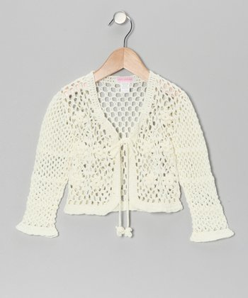 Ivory Crocheted Bolero - Girls