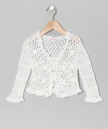 White Crocheted Bolero - Toddler & Girls