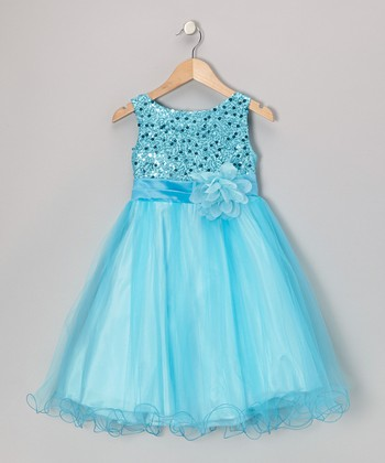 Aqua Sequin Overlay A-Line Dress - Infant, Toddler & Girls