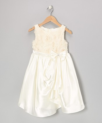 Ivory Rosette Gathered Dress - Toddler & Girls