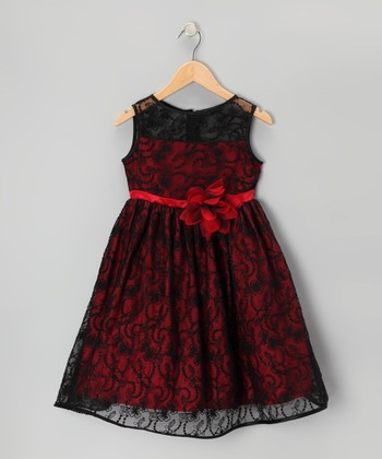 Black & Red Lace Dress - Toddler & Girls