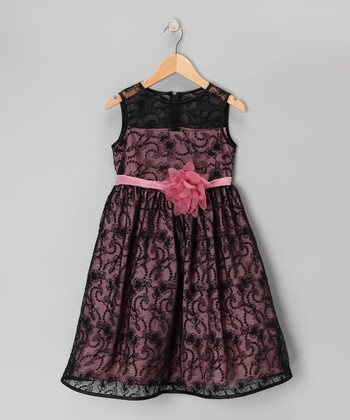 Black & Rose Lace Dress - Toddler & Girls