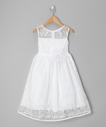White Lace Embellished Dress - Toddler & Girls