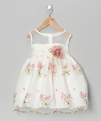 Ivory & Pink Floral Embroidered Dress - Infant