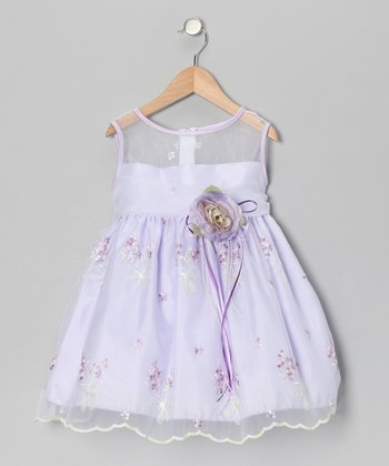 Lavender Floral Embroidery Dress - Infant