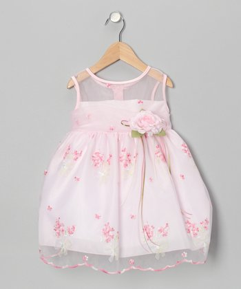 Baby Pink Floral Embroidered Dress - Infant