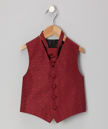 Burgundy Floral Vest - Infant, Toddler & Boys
