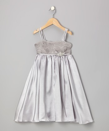 Silver Rosette Satin Babydoll Dress - Toddler & Girls