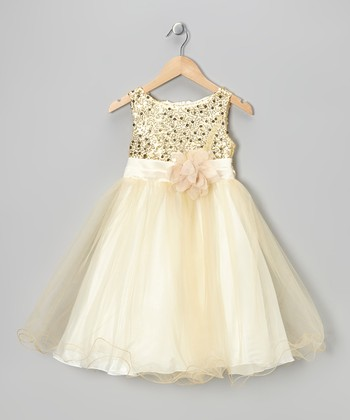 Gold Sequin Tulle A-Line Dress - Infant, Toddler & Girls