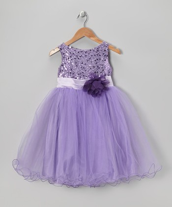 Lavender Sequin Tulle A-Line Dress - Infant, Toddler & Girls