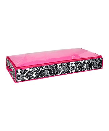 Black & Pink Damask Wide Underbed Storage Bag