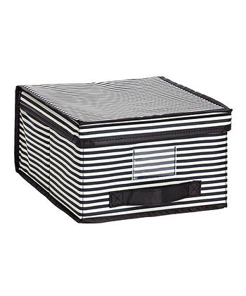 Black & White Stripe Medium Storage Box