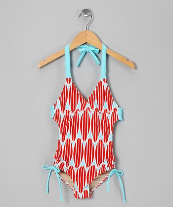 Patriotic Surf Lily One-Piece - Girls
