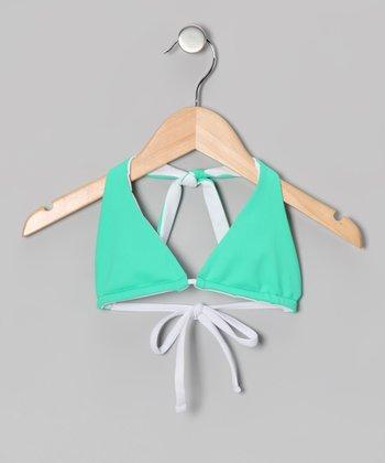 Squirtini Bikini Sea Foam & White Mackenzie Reversible Bikini Top - Girls