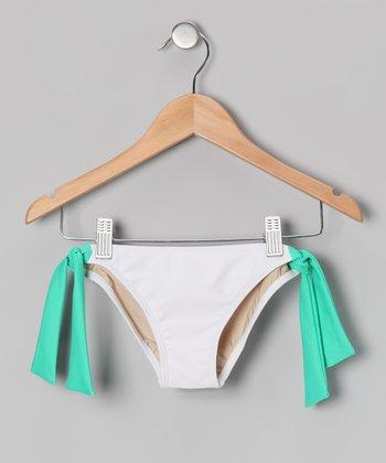 Squirtini Bikini White & Seafoam Mack Bikini Bottoms - Girls