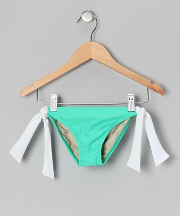 Squirtini Bikini Seafoam & White Mack Bikini Bottoms - Girls