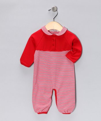 Sweet Cottons Red & White Stripe Grace Playsuit - Infant