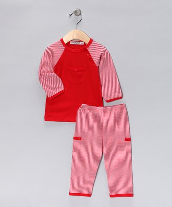 Sweet Cottons Red & White Stripe Cayden Tee & Pants - Infant