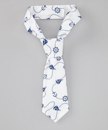 White & Navy Anchor Tie