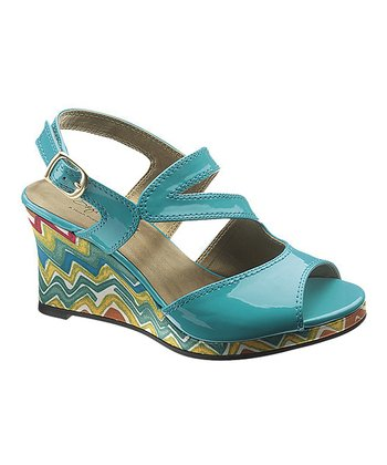 Teal Patent Peyton Wedge