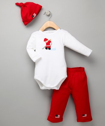 Red & White Three-Piece Fireman Bear Set