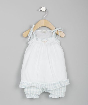 White & Green Gingham Tank & Bloomers - Infant