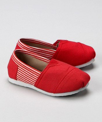 Red & White Stripe Canvas Shoe