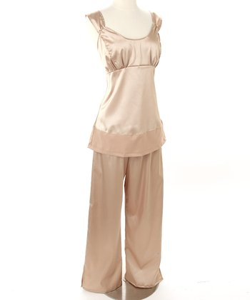 HadleyStilwell - Gold Dust Satin Nursing Pajamas