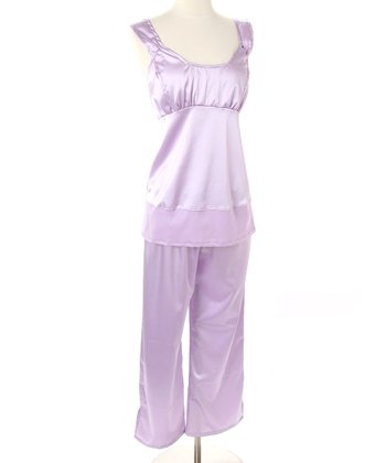 Lavender Satin Nursing Pajamas
