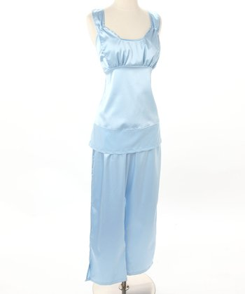 Serenity Blue Satin Nursing Pajamas