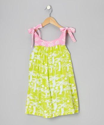 Pink & Lime Poppies Reversible Dress - Toddler & Girls
