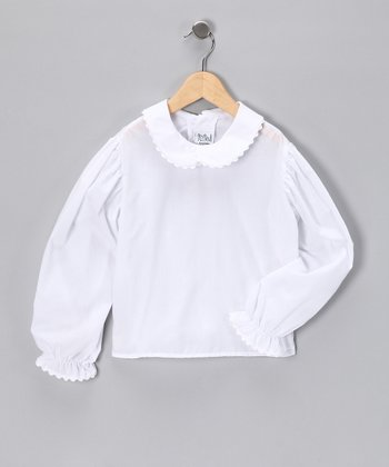 White Scallop-Trim Blouse - Infant, Toddler & Girls
