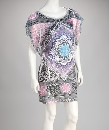 Purple Sublimation Cape-Sleeve Dress