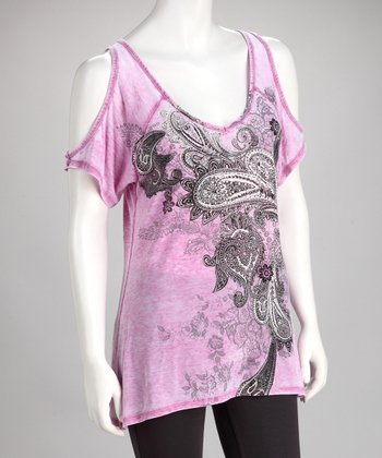 Pink Paisley Cutout Top