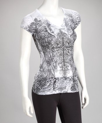 Gray Vintage Tattoo Burnout Top