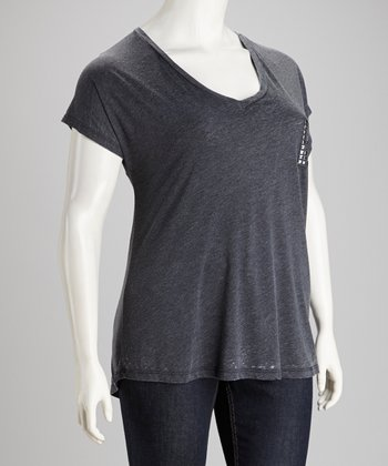 Charcoal Stud Pocket Plus-Size Tee