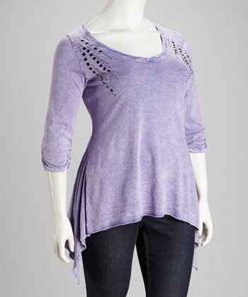 Lavender Stud Plus-Size Sidetail Top