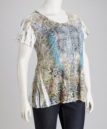 Blue & Yellow Burnout Graphic Top - Plus
