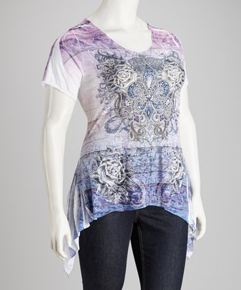 Purple & White Burnout Sidetail Top - Plus