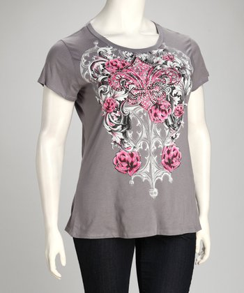 Gray Fleur-de-Lis & Rose Tattoo Short-Sleeve Top - Plus