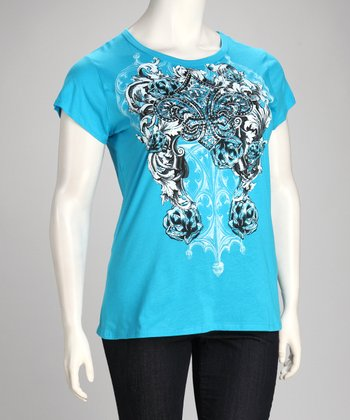Turquoise Fleur-de-Lis & Rose Tattoo Short-Sleeve Top - Plus