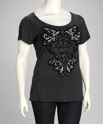 Dark Charcoal Embroidered Fleur-de-Lis Top - Plus