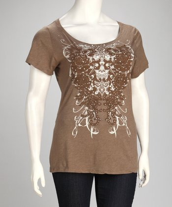 Mocha Embroidered Angel Wing Plus-Size Top
