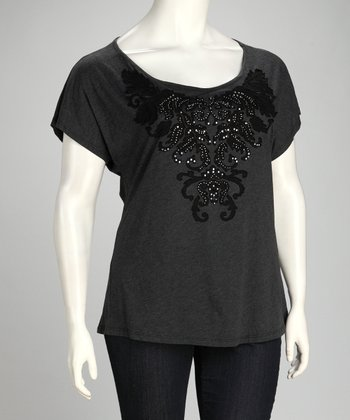 Dark Charcoal Embroidered Vintage Top - Plus