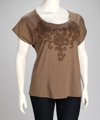 Mocha Embroidered Floral Short-Sleeve Top - Plus