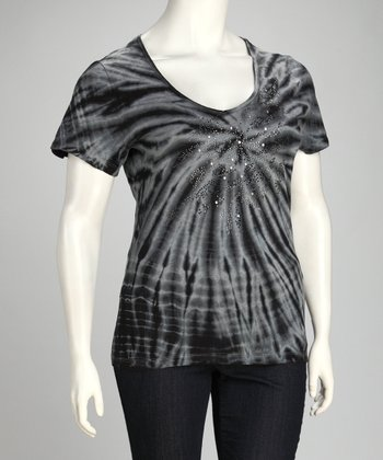 Denim Blue & Gray Tie-Dye Embellished Plus-Size Top