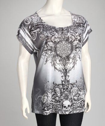 Gray Vintage Sublimation Plus-Size Top